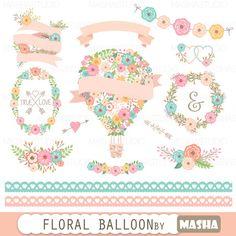 Hot air balloon flowers clip art.