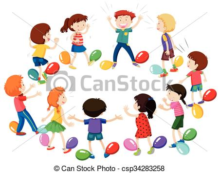 Clipart Vector of Children playing game of balloon popping.