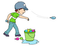 Water balloons games clipart.