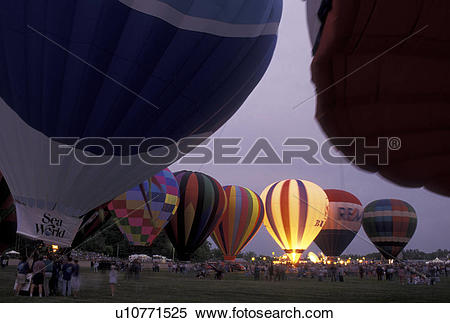 Stock Image of hot air balloons, Vermont, VT, Essex Junction.