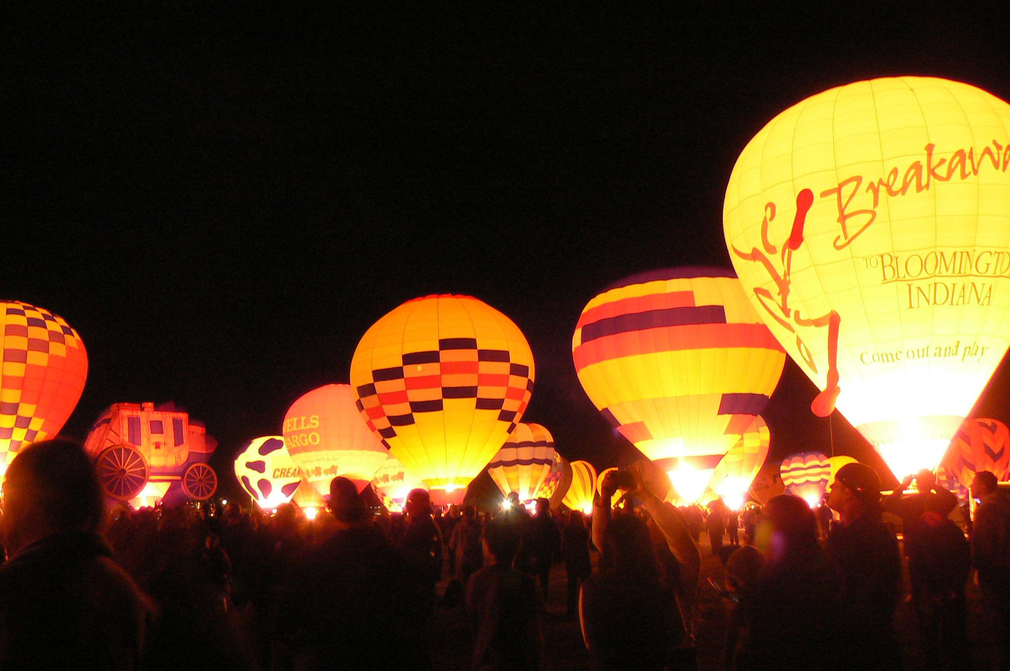 Hot Air Balloon Glow in Albuquerque, New Mexico.