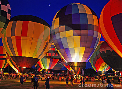 Hot Air Balloon Colors, Evening Night Glow Lights Stock Image.
