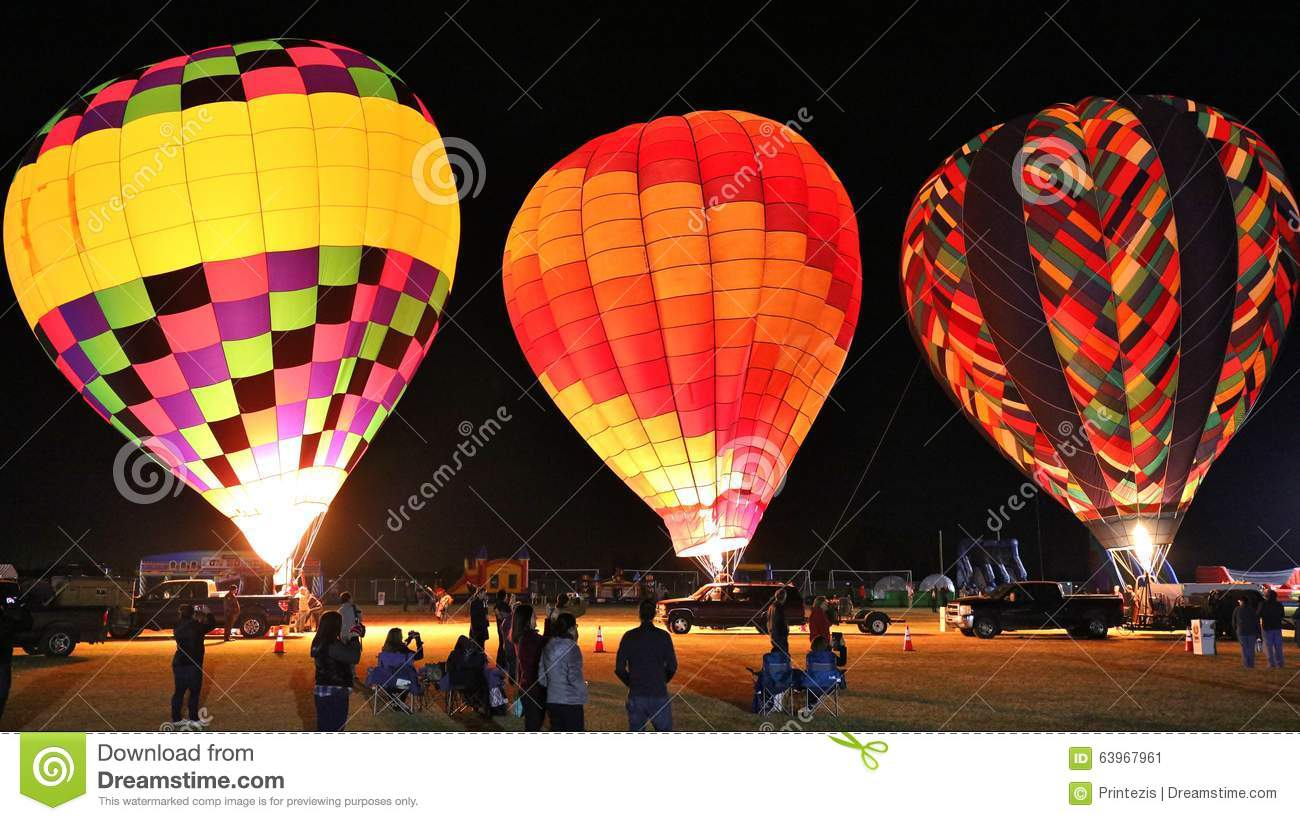 People Gather To Watch The Annual Hot Air Balloon Glow In Glendale.