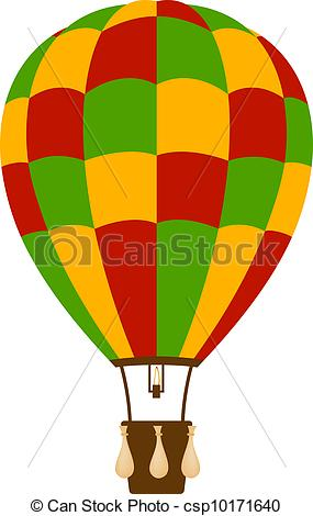 EPS Vector of Hot air balloon in colour with basket and burner on.