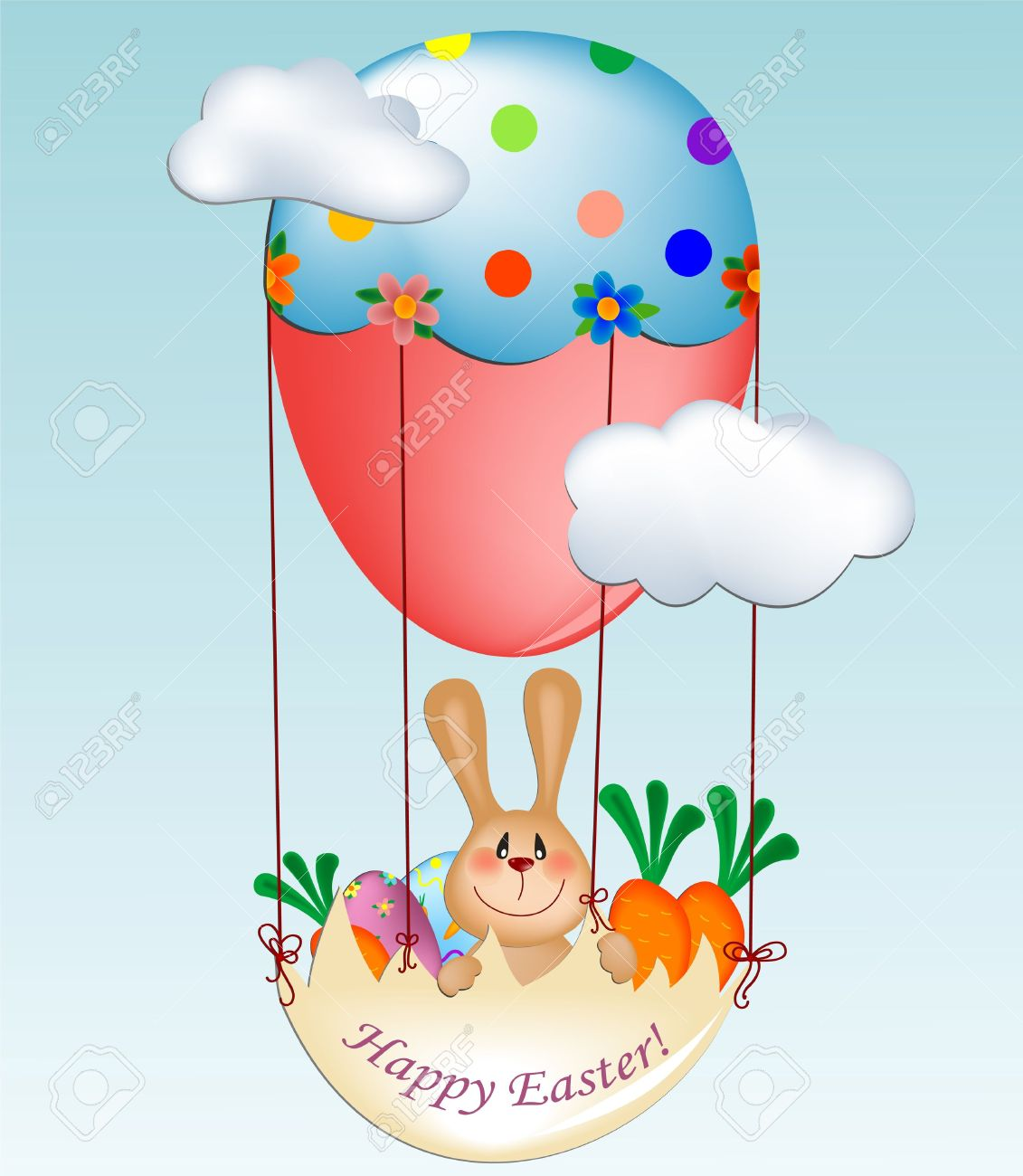 Easter Greeting Card With Bunny In Balloon Gondola Royalty Free.