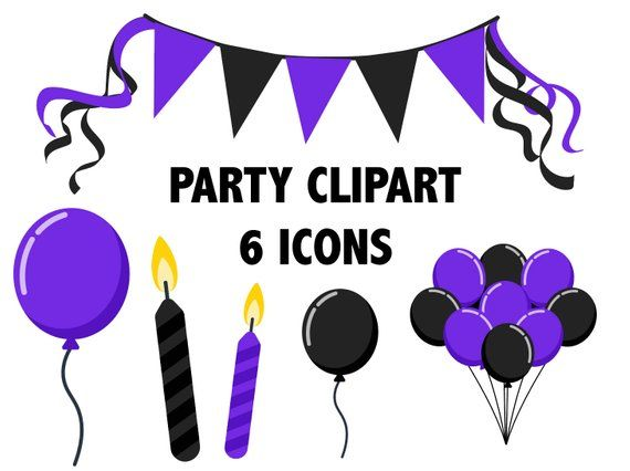 Black and Purple PARTY CLIPART.