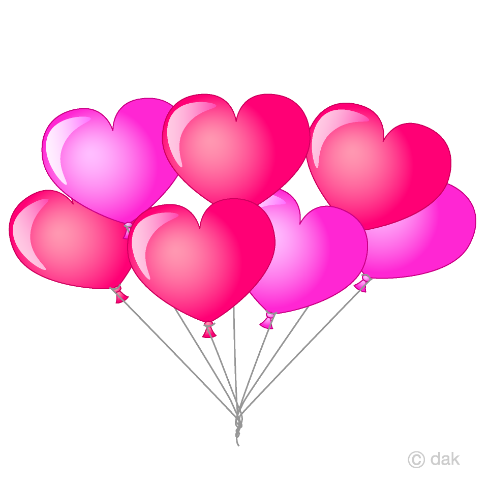 Bunch of Heart Balloons Clipart Free Picture|Illustoon.