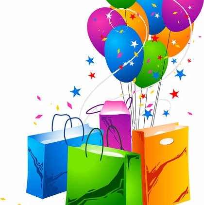 Festive Balloons and Shopping Bags Clipart Picture.