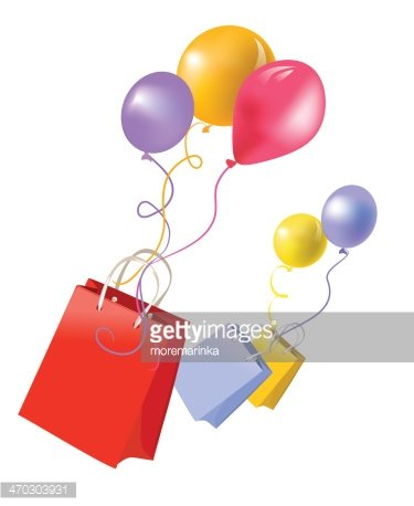 gift bags and balloons Clipart Image.
