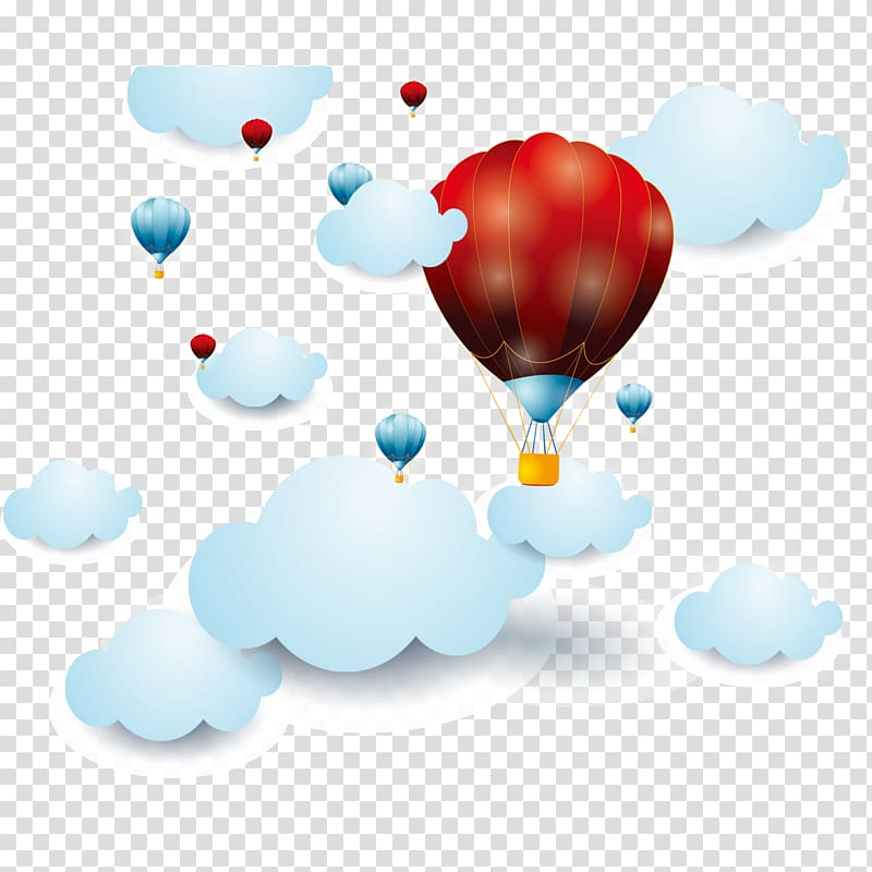 Painting Cartoon, Cartoon hot air balloon clouds transparent.