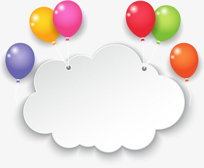 Colorful balloon clouds PNG clipart.
