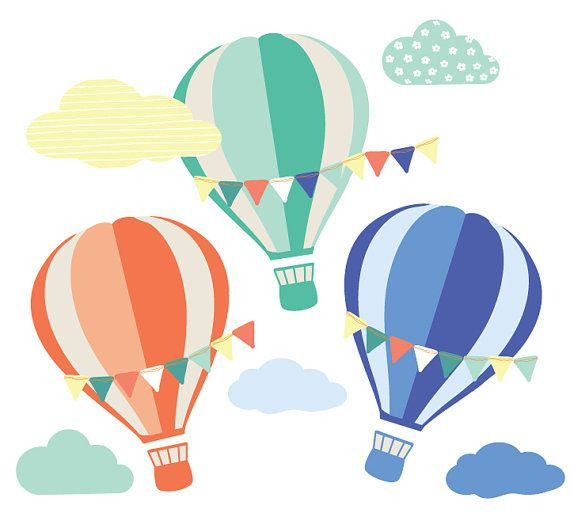 Hot Air Balloon and Cloud Wall Decals.