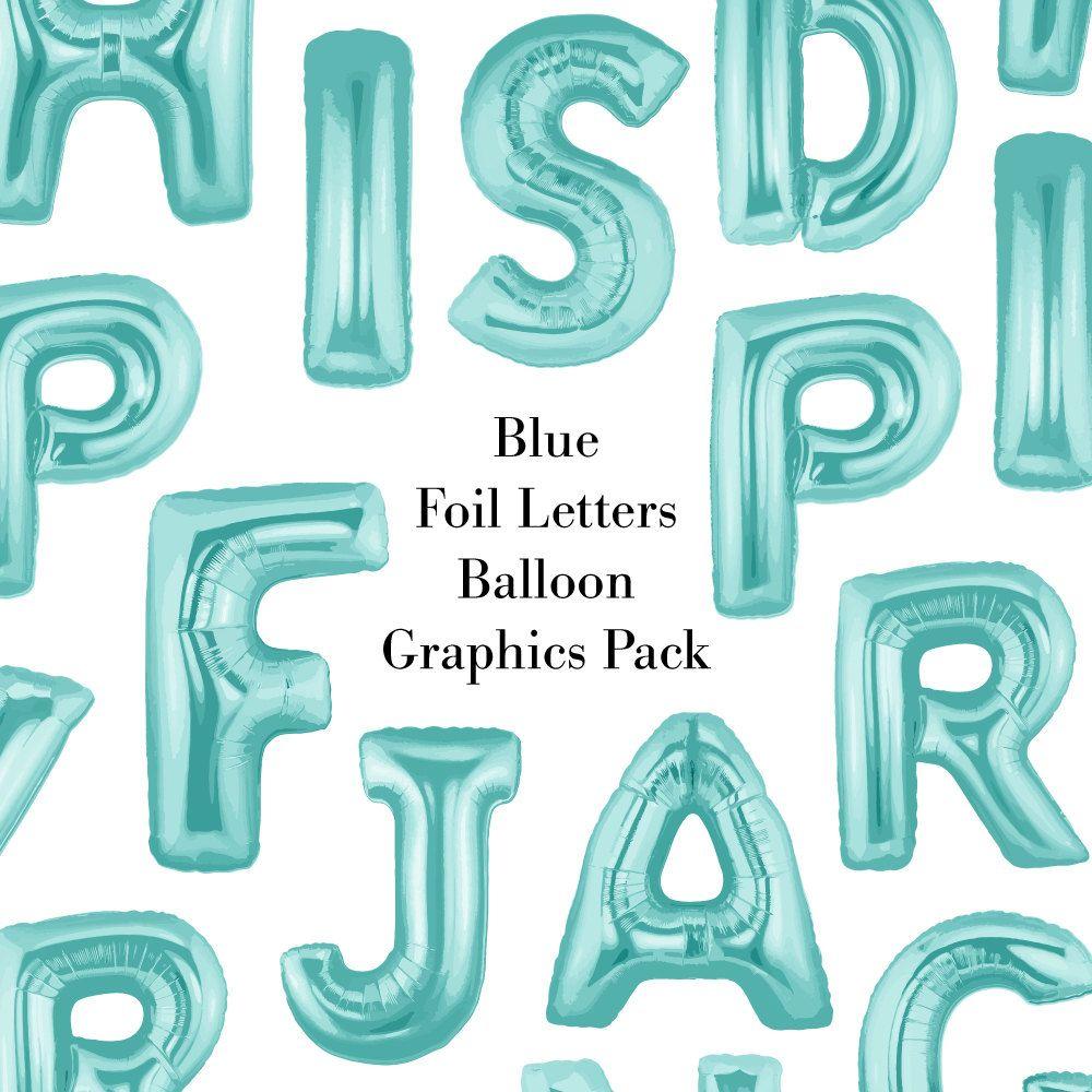 Blue Foil Balloon Letters Clip Art.