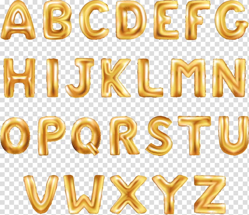 Balloon Letter Font, Golden Balloon Word Word, gold alphabet.