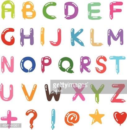 Balloon Alphabet Style of Handwriting premium clipart.
