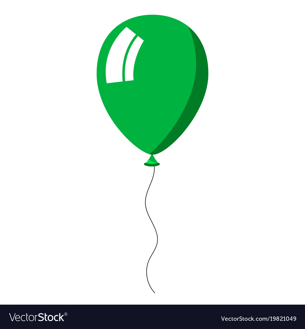 Green balloon on white background.