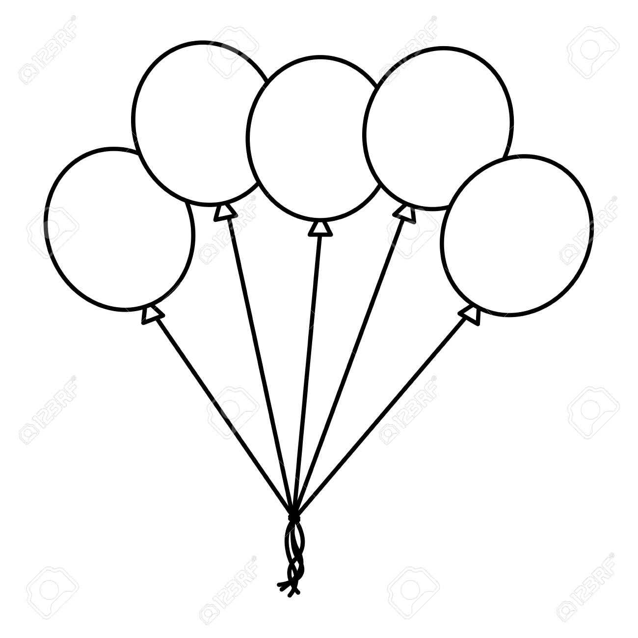 bunch balloons decoration ornament party vector illustration...
