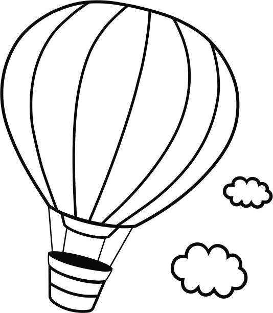 Best Clip Art Of A Hot Air Balloon Outline Illustrations, Royalty.