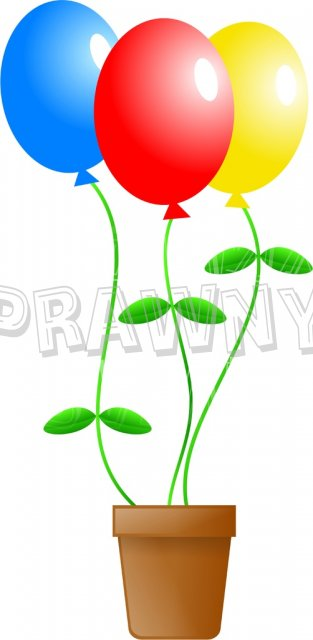 Birthday Celebration Balloon Plant Clipart.