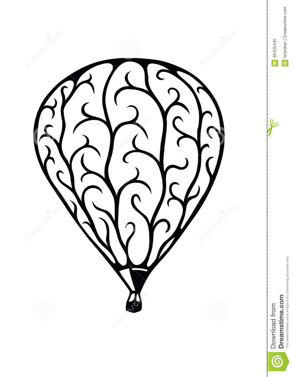 Ornamental Hot Air Balloon Stock Vector.
