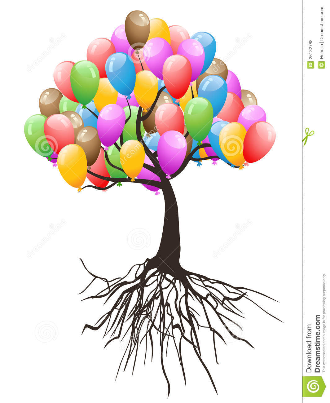 Balloons Tree For Happy Holiday Royalty Free Stock Photos.