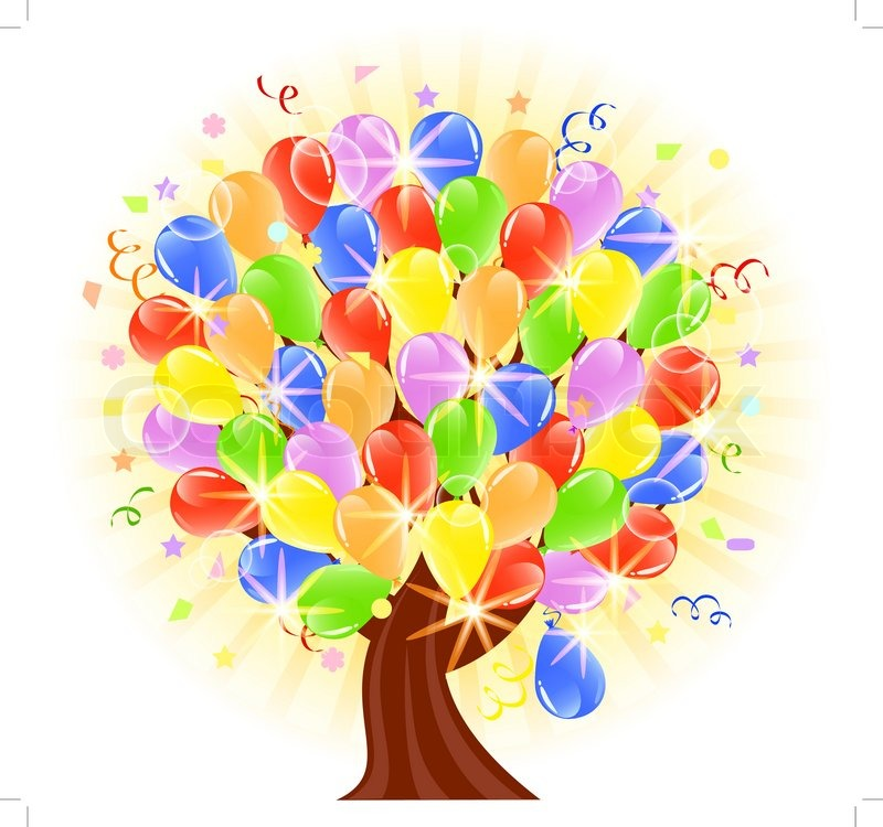 Vector illustration of a balloons tree.