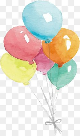 Watercolor Balloons, Watercolor Clipart, Hand Painted, Balloon PNG.