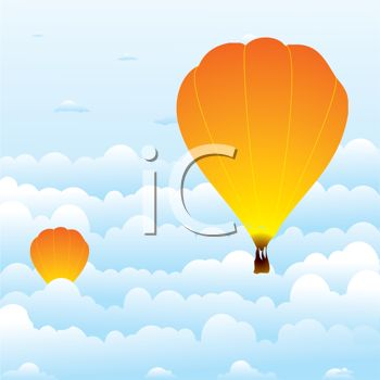 Royalty Free Clipart Image: Hot Air Balloon Race.