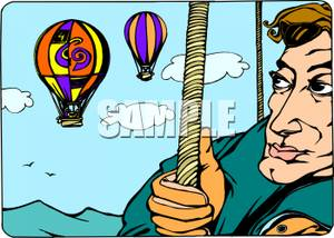 Colorful Cartoon of a Hot Air Balloon Race with a Man In a Balloon.