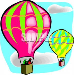 Colorful Cartoon of Balloons In a Balloon Race.