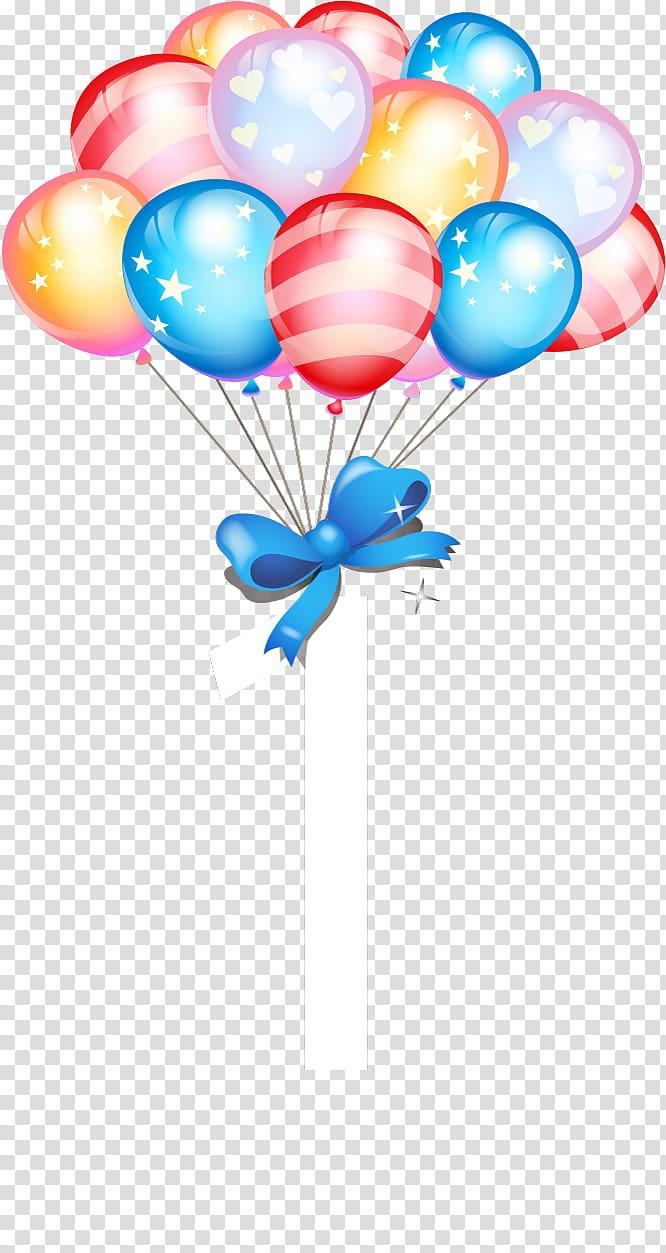 Party balloons with ribbon illustration, Birthday cake Balloon Gift.