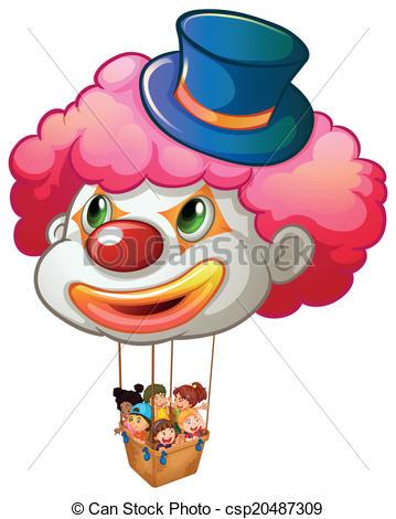Vector Clipart of Kids enjoying the balloon ride.