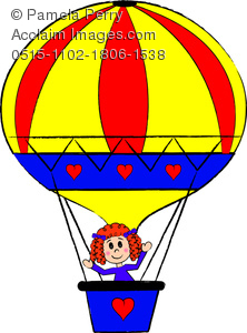 Clip Art Illustration of a Little Girl Riding in a Hot Air Balloon.