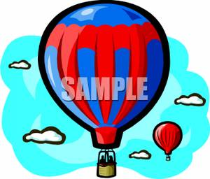 Colorful Cartoon of People Taking a Ride In a Hot Air Balloon.