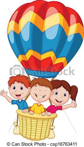 Vector Clip Art of Happy kids cartoon riding a hot air.