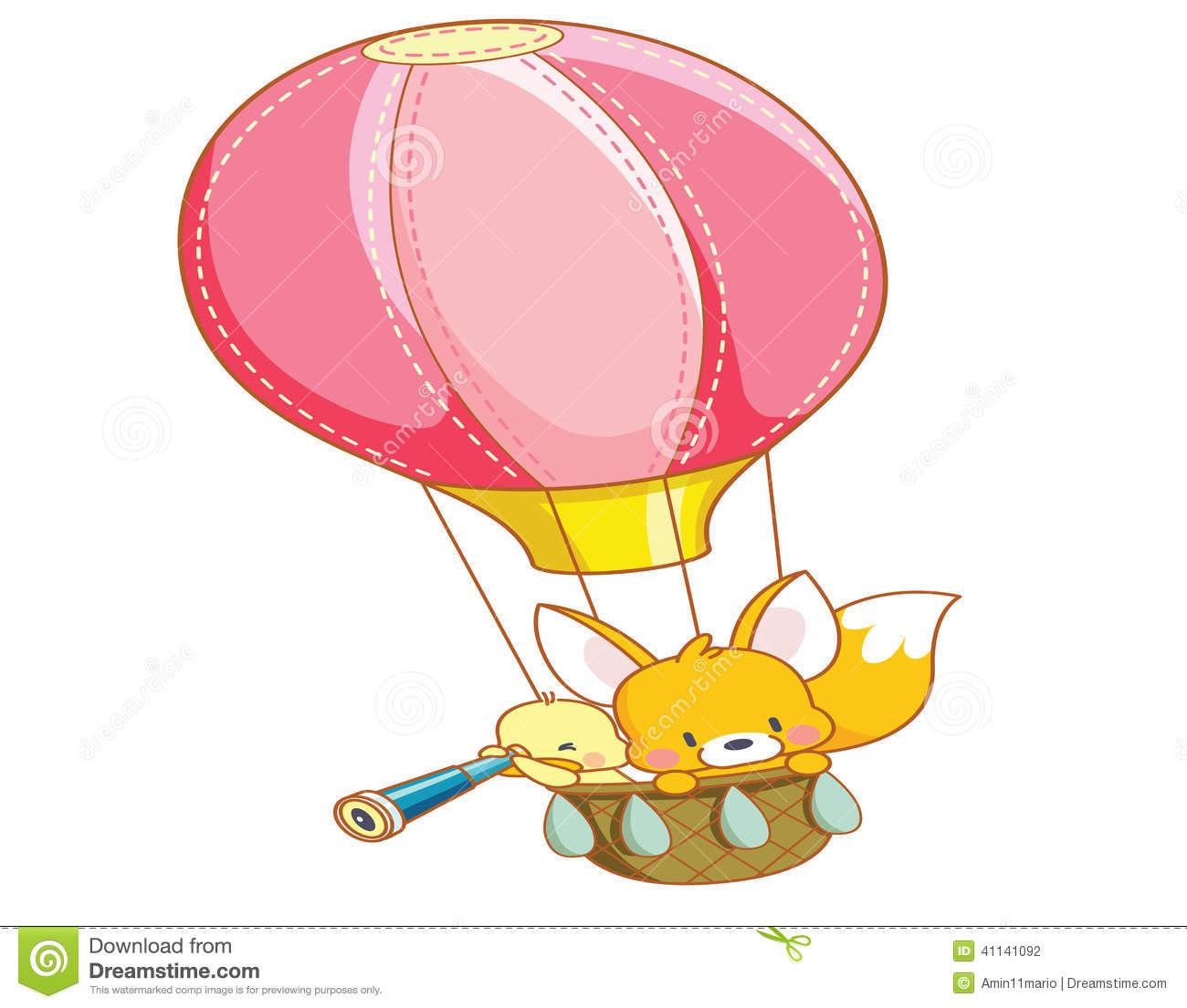 Cartoon Chicks And Cute Squirrel Air Balloon Ride Stock.
