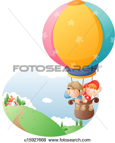 Stock Illustration of Two children on a hot air balloon ride.