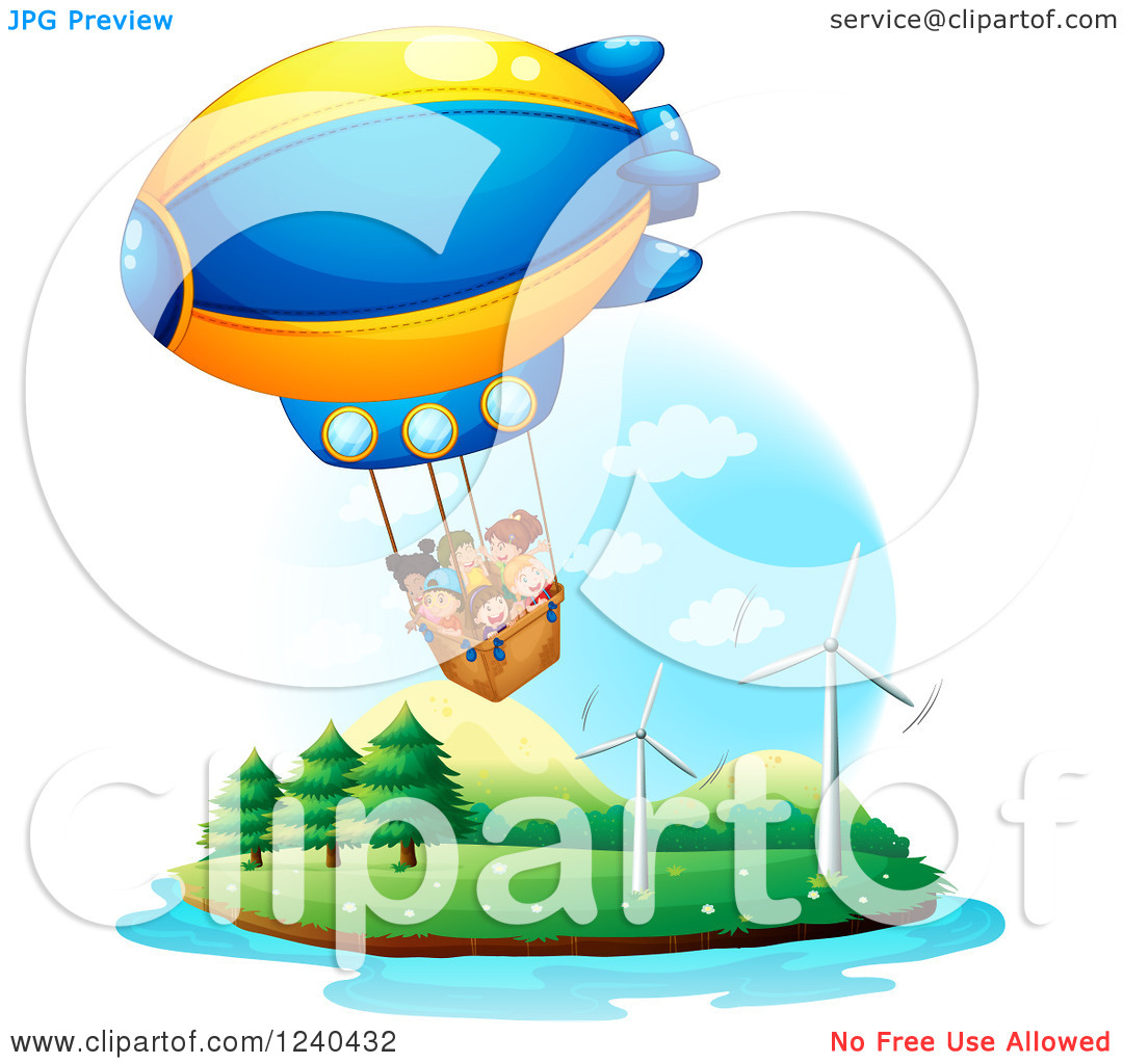 Clipart of Diverse Children Taking a Hot Air Balloon Ride over an.