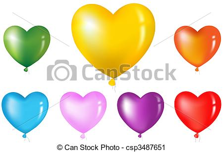 Vector Clip Art of Colorful Heart Shape Balloons. Isolated on.