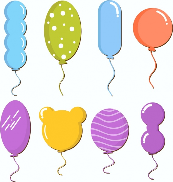 Balloon icons collection various colorful shapes decoration Free.