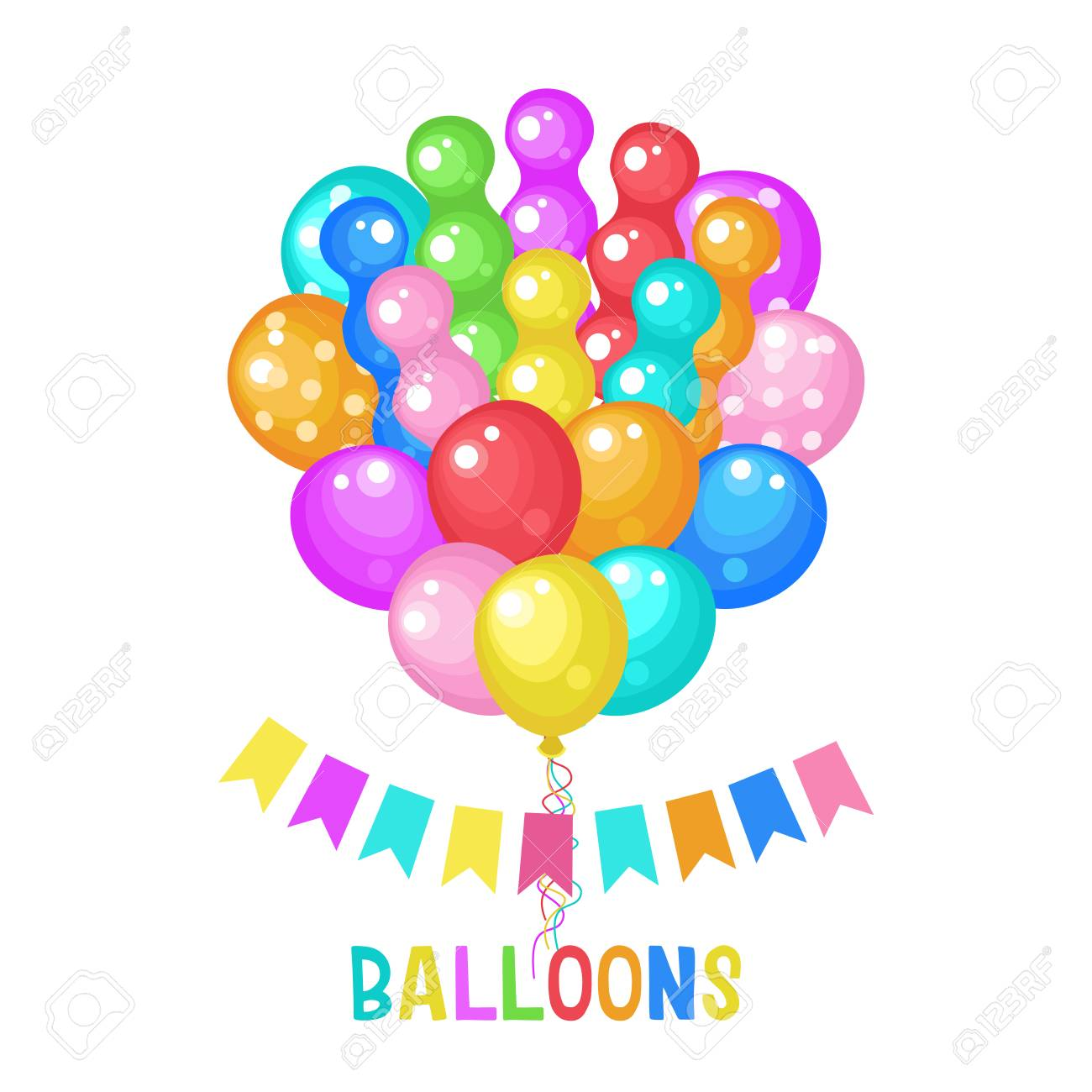 Vector illustration with colored balloons. Different colors and...