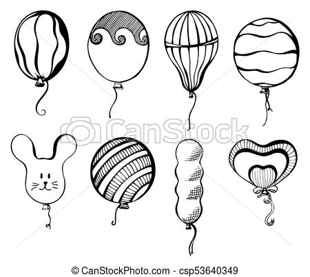 Balls of different shapes. Hand drawn, isolated on a white background.  Vector illustration.
