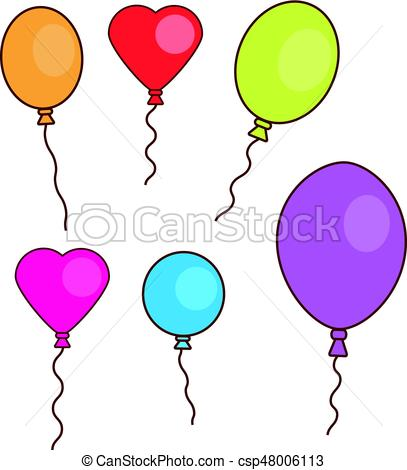 Simple hand drawn balloons isolated on white. Round, oval and heart shaped.