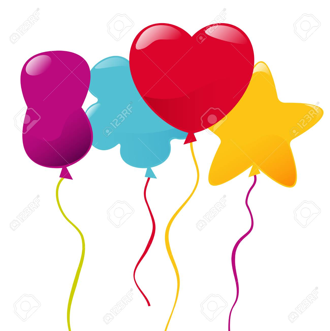 Vector multicolored balloons of different shapes illustration..