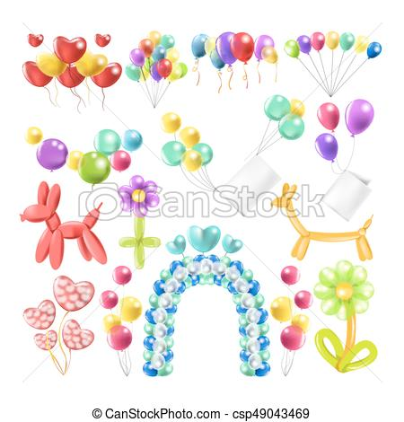 Balloons color glossy inflated in different balloon shape vector icons set.