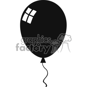 10733 Royalty Free RF Clipart Balloon Black Silhouette Vector Illustration  clipart. Royalty.