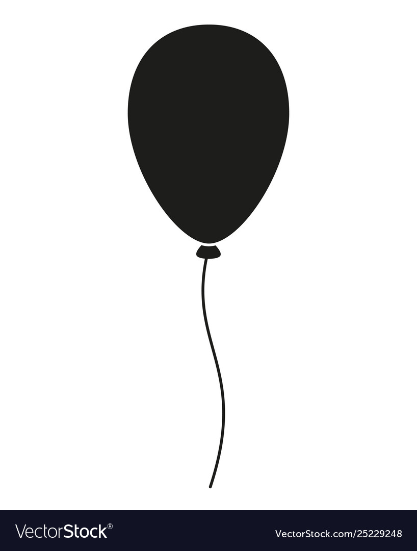 Black and white baloon silhouette vector image.