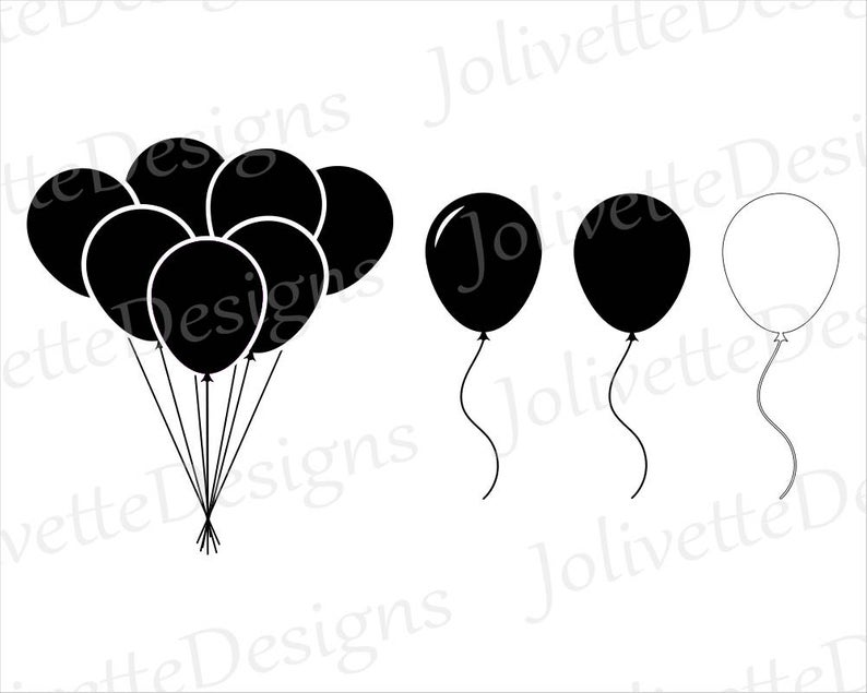 Balloon, String, Party, Up, Clip Art, Clipart, Design, Svg Files, Png  Files, Eps, Dxf, Pdf Files, Silhouette, Cricut, Cut File.