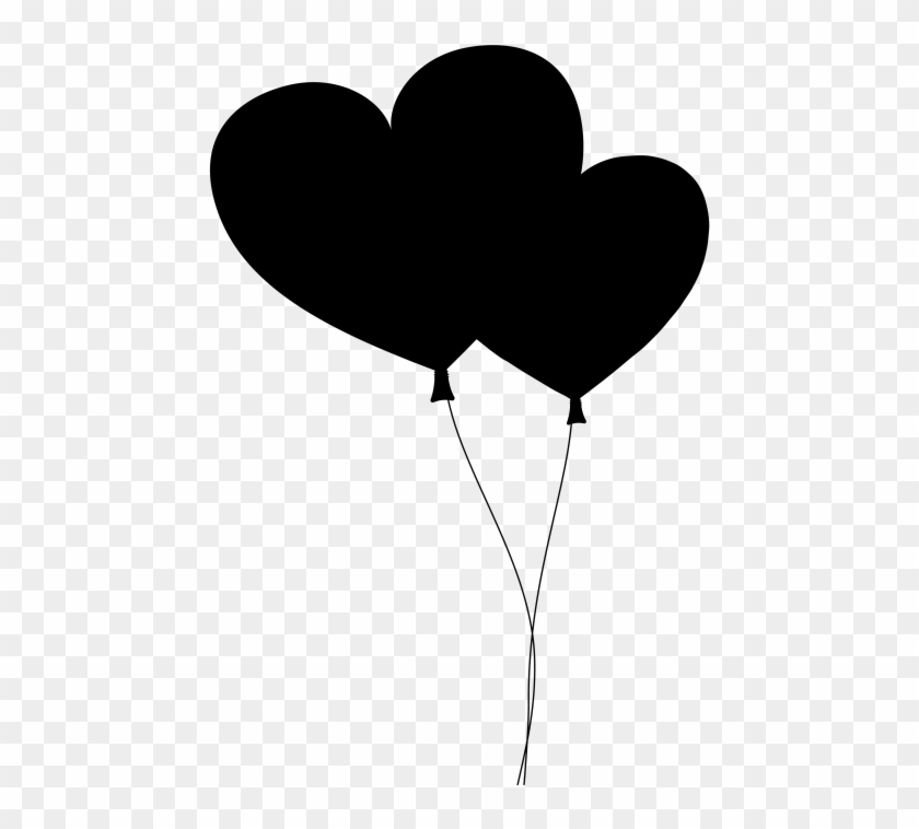 Black Heart Balloon With String Png.