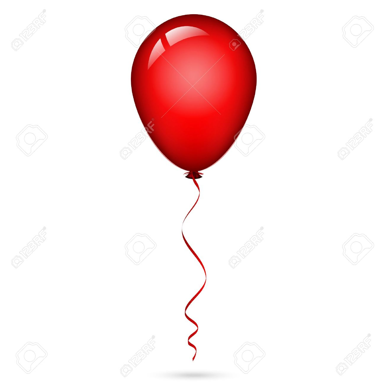 illustration of red balloon with ribbon.